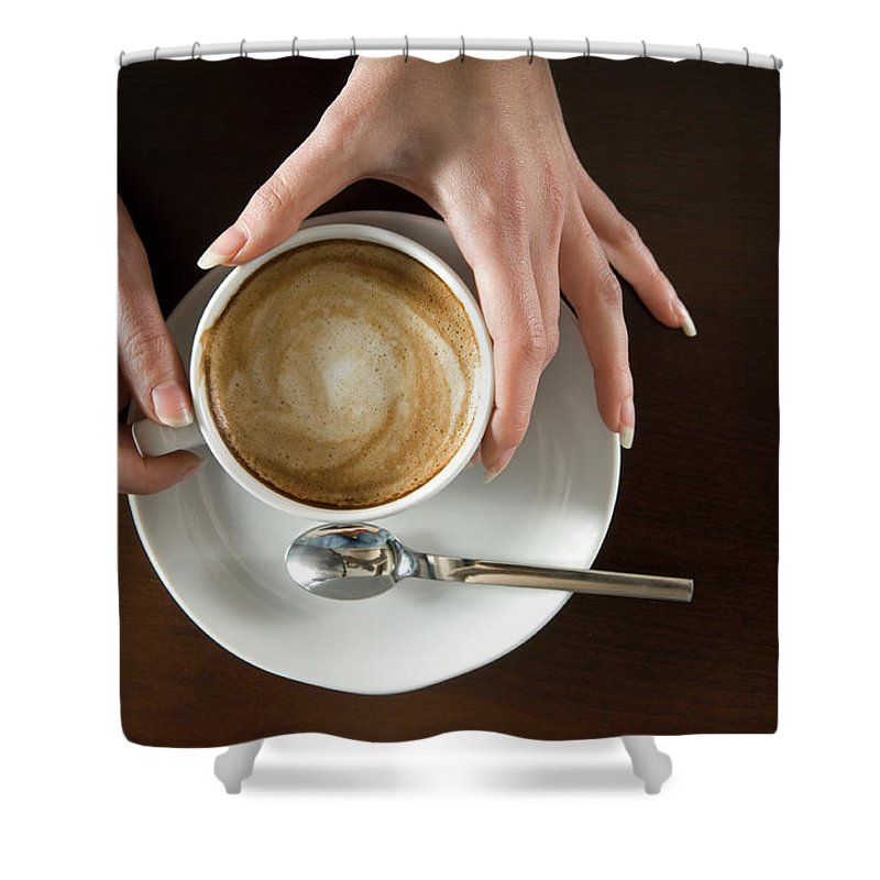 Spoon Shower Curtain featuring the photograph Holding Cappuccino by 1001nights