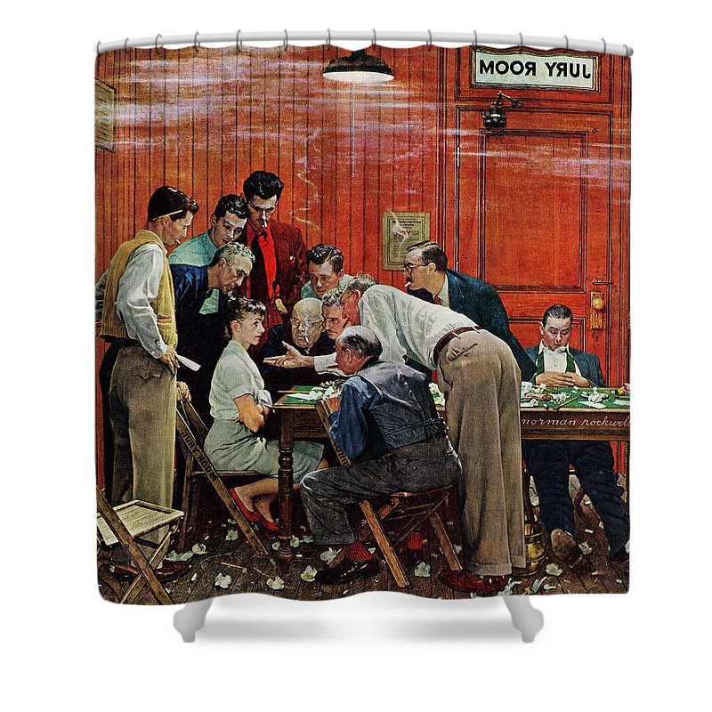 Courtroom Shower Curtain featuring the drawing Holdout by Norman Rockwell