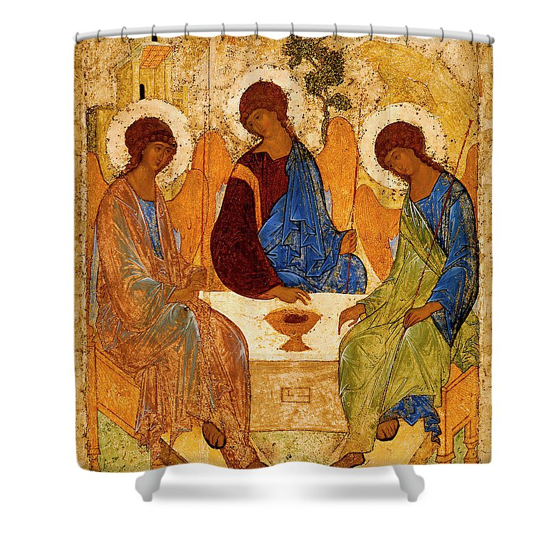 Holy Trinity Shower Curtain featuring the painting Holy Trinity by Andrei Rublev