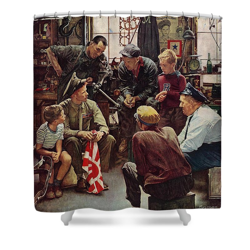 Flags Shower Curtain featuring the drawing Homecoming Marine by Norman Rockwell