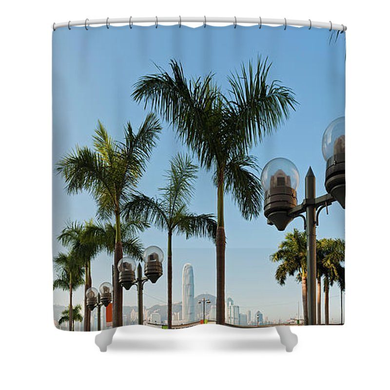 Chinese Culture Shower Curtain featuring the photograph Hong Kong Clock Tower Ferry Terminal by Fotovoyager