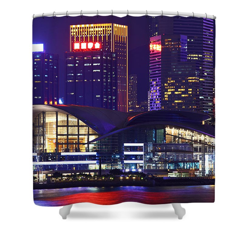 Corporate Business Shower Curtain featuring the photograph Hong Kong Island At Night by Ngkaki