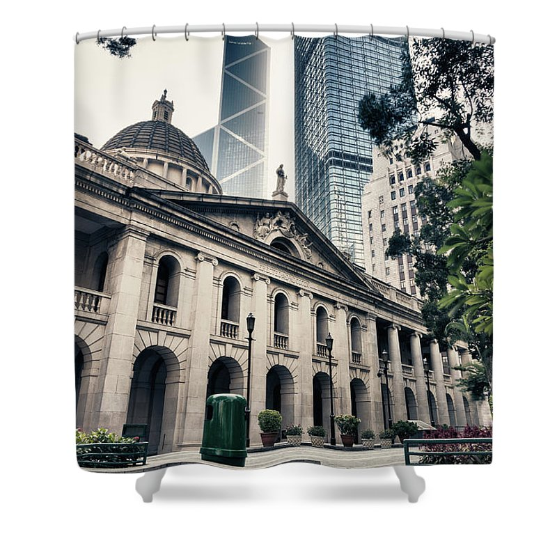 Chinese Culture Shower Curtain featuring the photograph Hong Kong Legislative Council by Laoshi