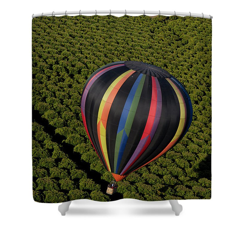 Tranquility Shower Curtain featuring the photograph Hot Air Balloon by Holly Harris