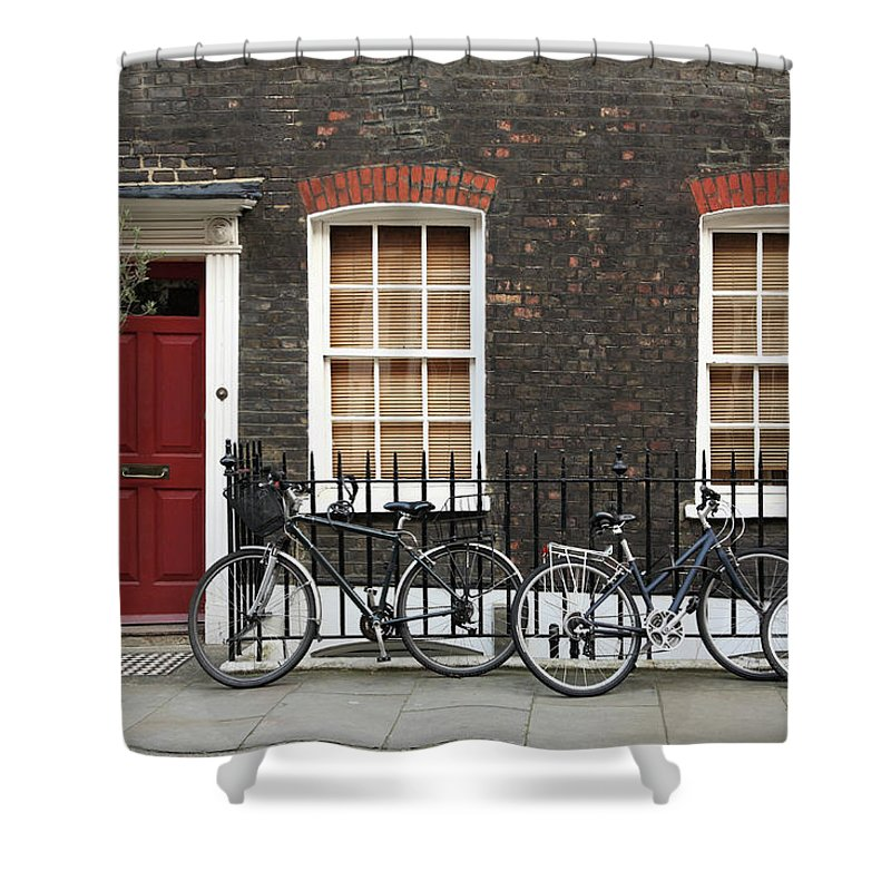 Row House Shower Curtain featuring the photograph House In London by Imagestock