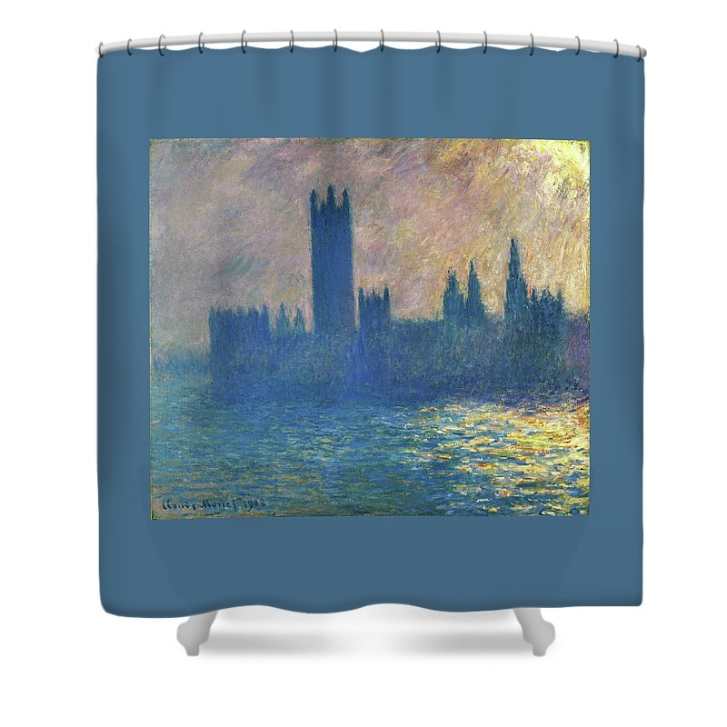 Claude Monet Shower Curtain featuring the painting Houses Of Parliament, Sunlight Effect - Digital Remastered Edition by Claude Monet