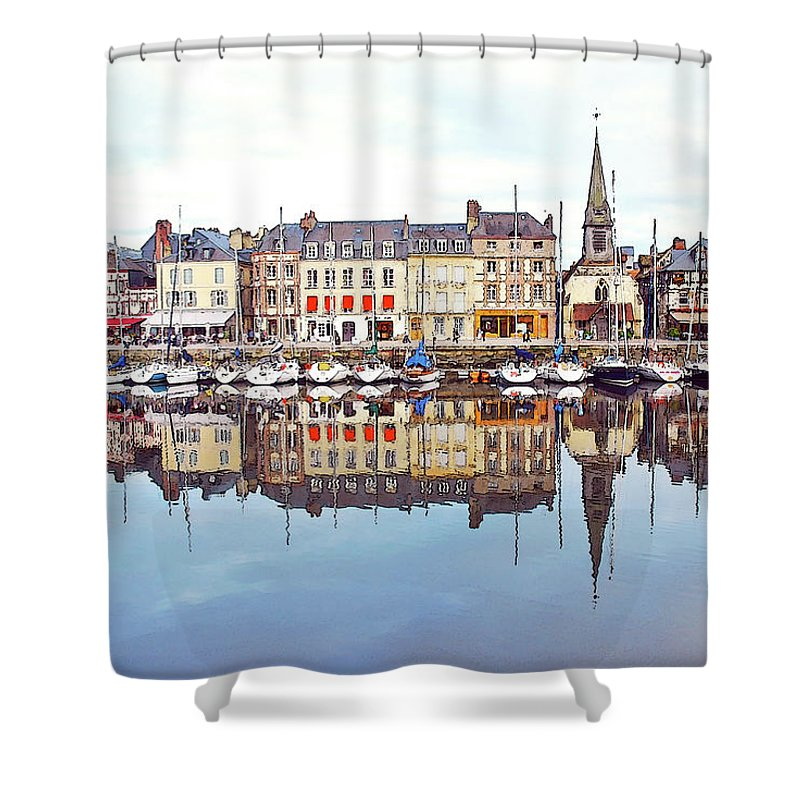 Tranquility Shower Curtain featuring the photograph Houses Reflection In River, Honfleur by Ana Souza