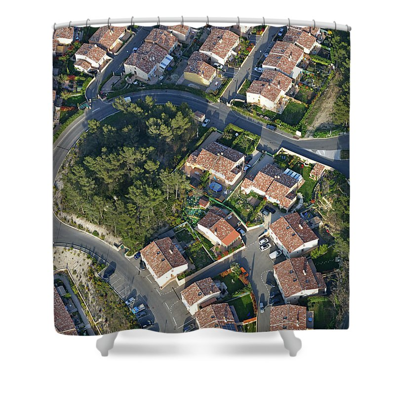 Tranquility Shower Curtain featuring the photograph Housing Development, Peypin, Aerial View by Sami Sarkis