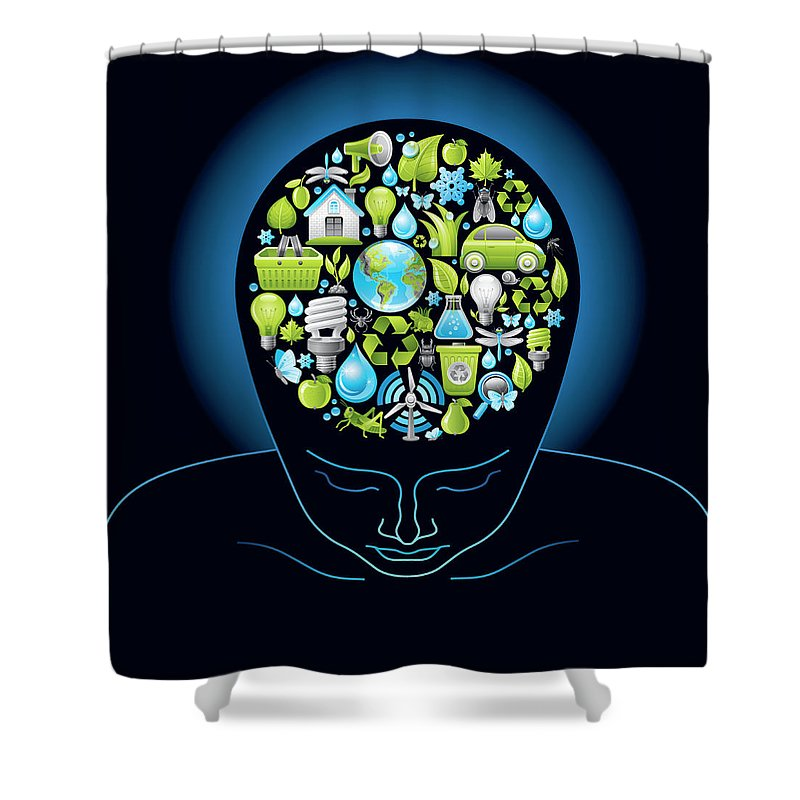 Expertise Shower Curtain featuring the digital art Human Head With Ecological Symbols In by O-che