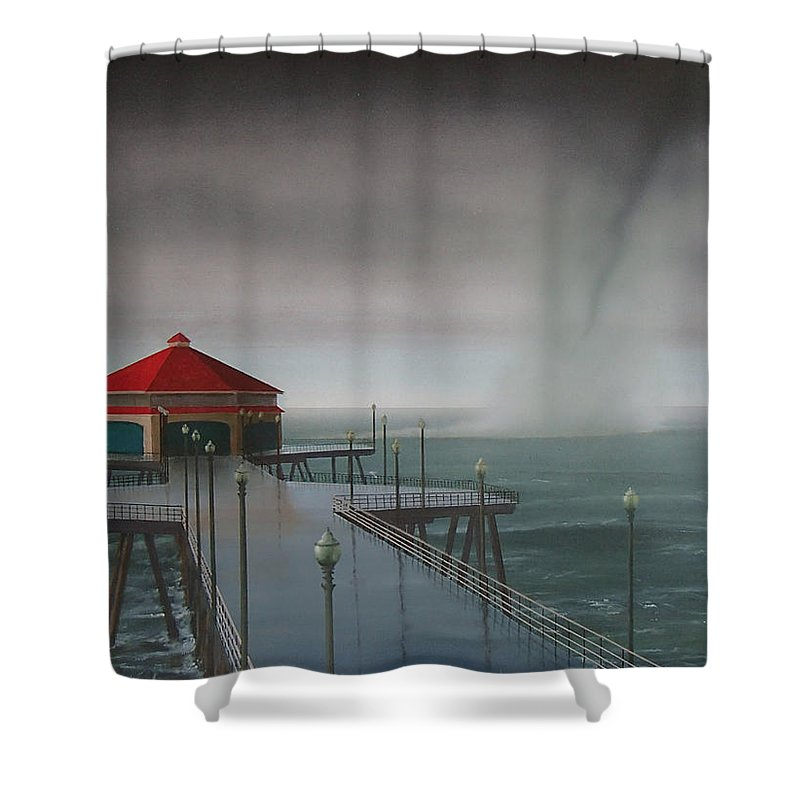 Huntington Beach Shower Curtain featuring the painting Huntington Beach Pier waterspout by Philip Fleischer