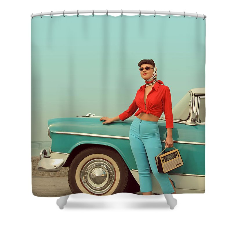 People Shower Curtain featuring the photograph I Am Back by Retroatelier