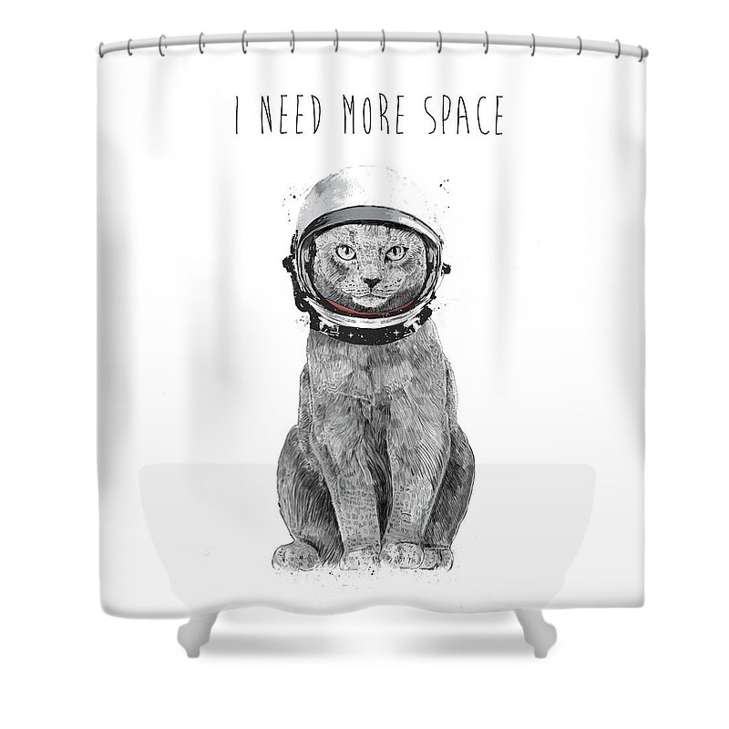 Cat Shower Curtain featuring the drawing I need more space by Balazs Solti