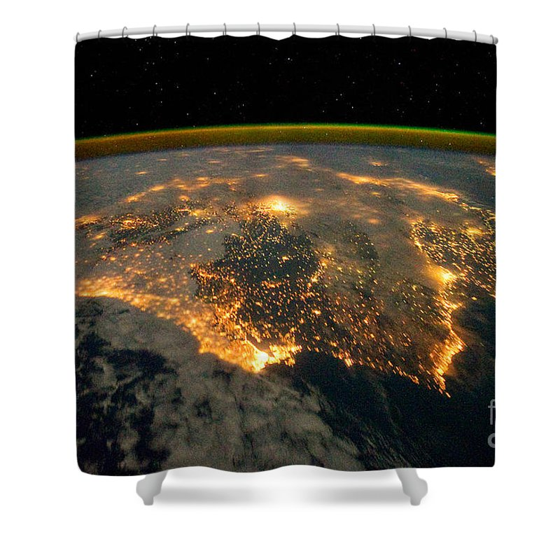 Aerial Shower Curtain featuring the photograph Iberian Peninsula From Space by NASA Johnson Space Center