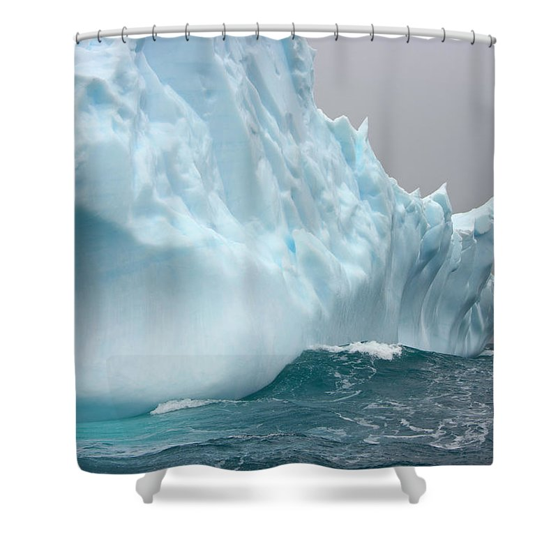 Scenics Shower Curtain featuring the photograph Iceberg And Sea Waves, South Georgia by Eastcott Momatiuk