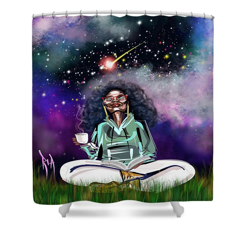 Coffee Shower Curtain featuring the painting I.C.U like U.C.Me by Artist RiA