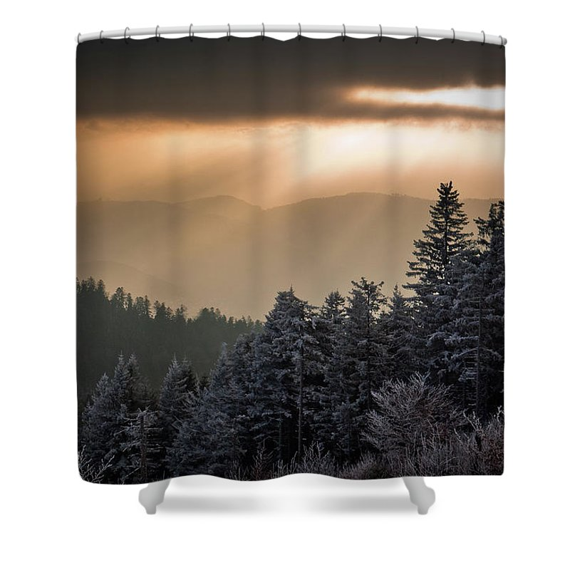 Scenics Shower Curtain featuring the photograph Illuminated Winter Landscape by Andreas Wonisch