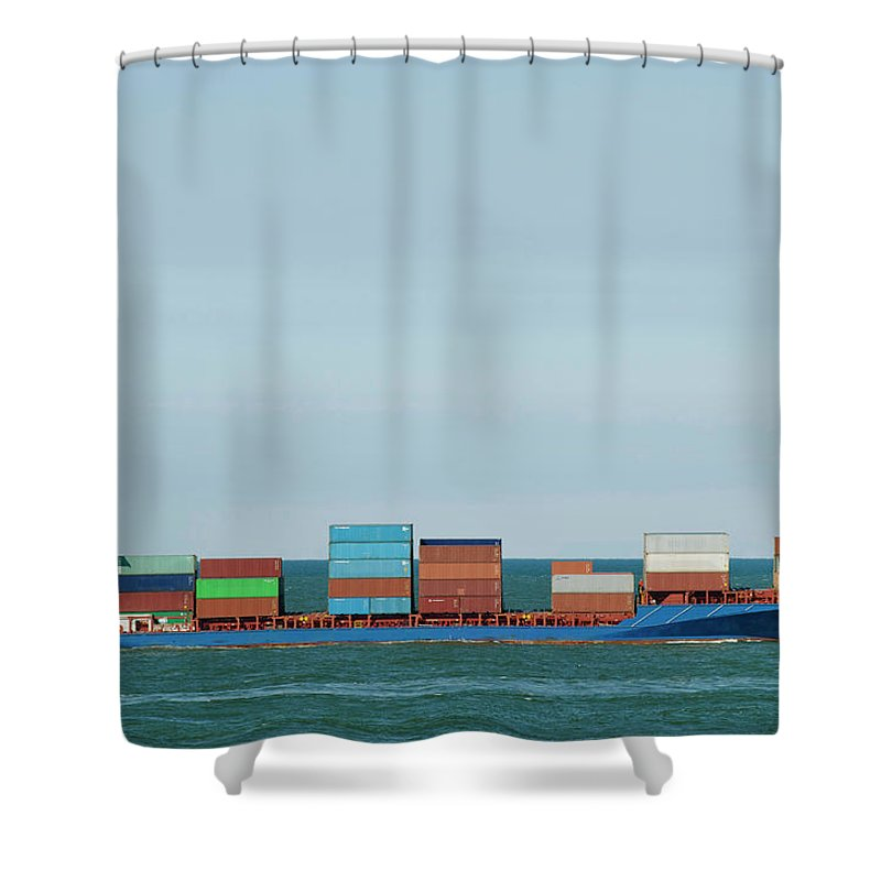 Freight Transportation Shower Curtain featuring the photograph Industrial Barge Carrying Containers by Mischa Keijser
