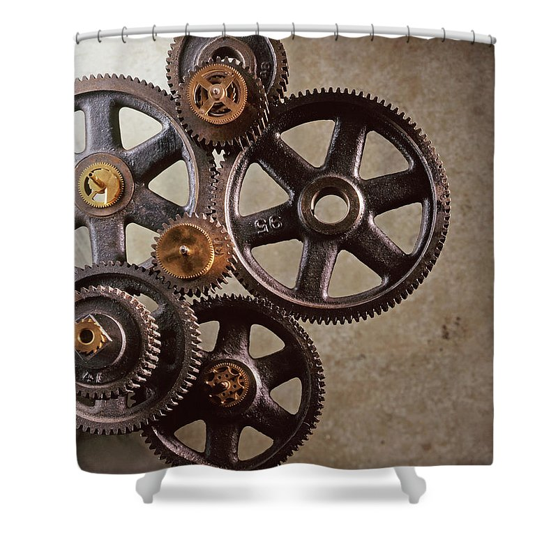 Manufacturing Equipment Shower Curtain featuring the photograph Industrial Gears by Dny59