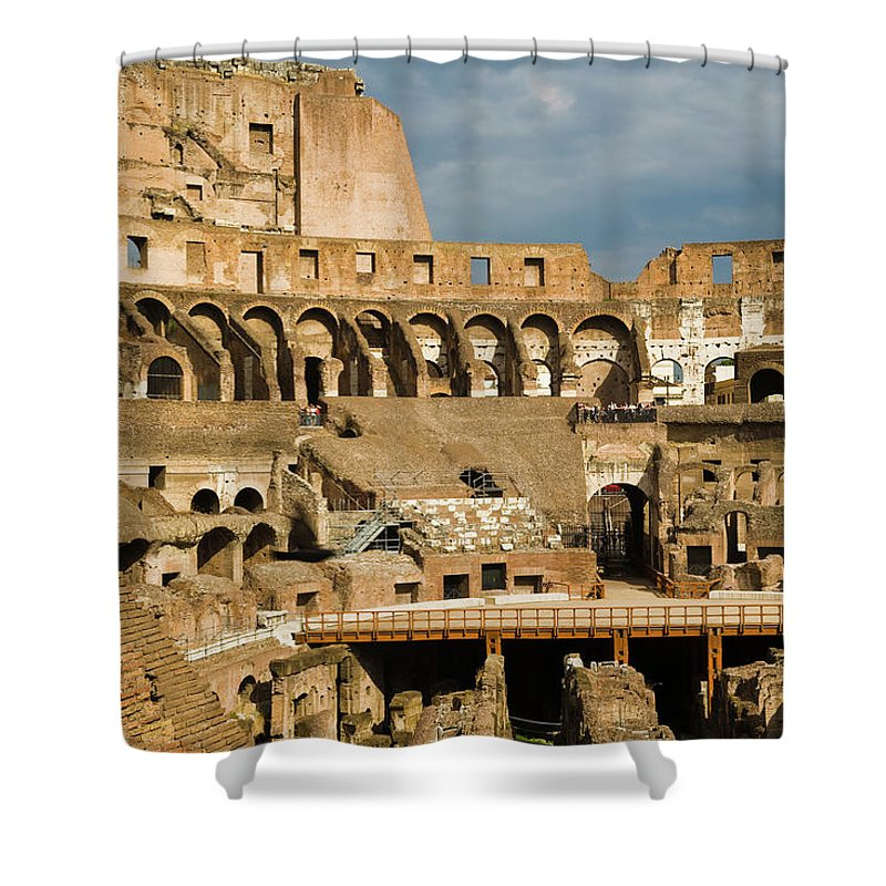 Arch Shower Curtain featuring the photograph Interior Of The Colosseum, Rome, Italy by Juan Silva