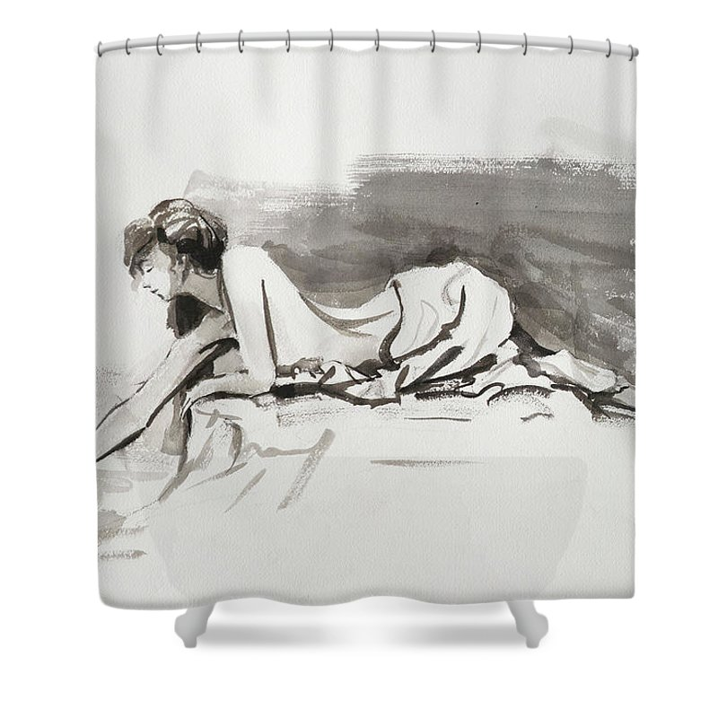 Woman Shower Curtain featuring the painting Introspection by Steve Henderson