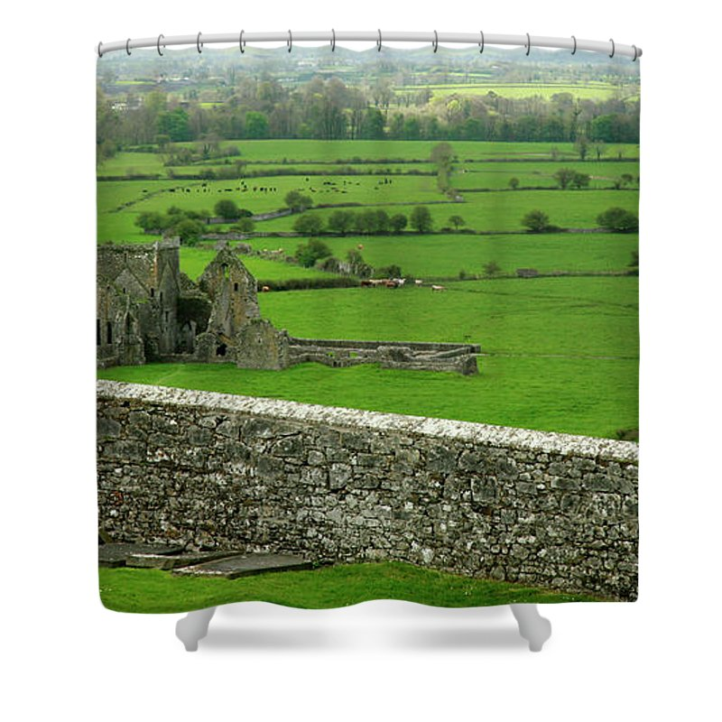 Scenics Shower Curtain featuring the photograph Ireland Country Scape With Castle Ruins by Njgphoto