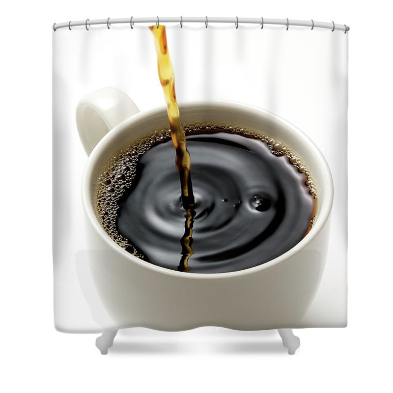 Breakfast Shower Curtain featuring the photograph Isolated Shot Of Pouring A Fresh Coffee by Kyoshino