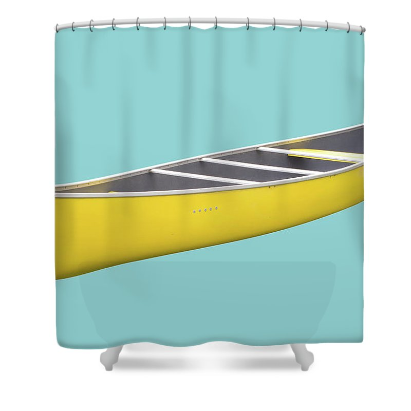 Recreational Pursuit Shower Curtain featuring the photograph Isolated Yellow Canoe On Blue Background by 3dvd