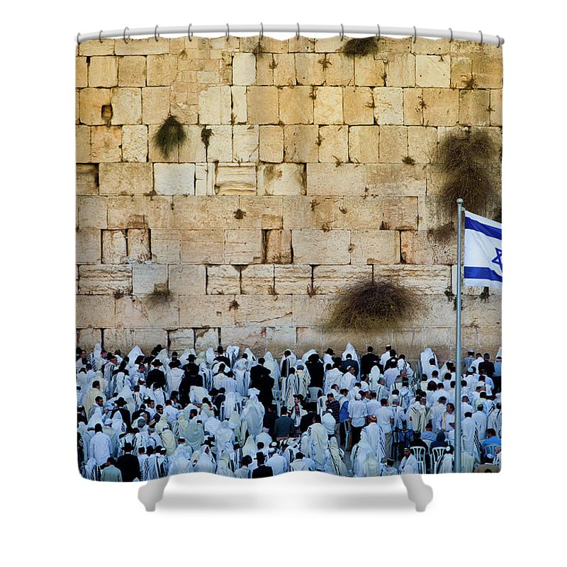 Crowd Shower Curtain featuring the photograph Israeli Flag Flies At The Western Wall by Gary S Chapman