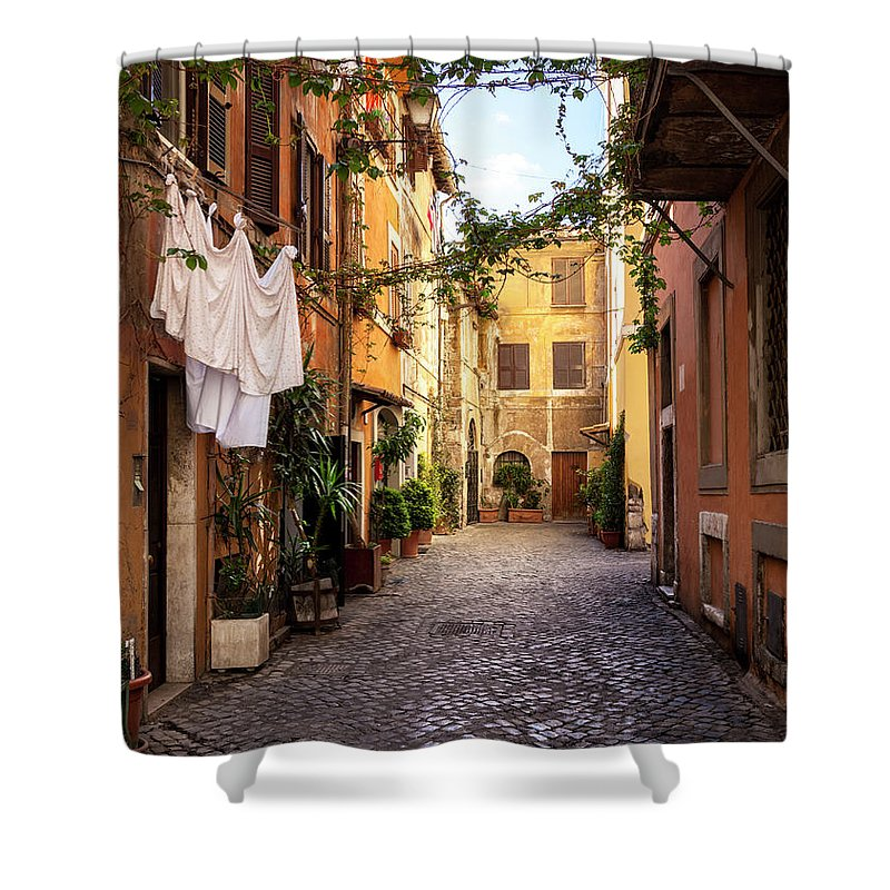 Roman Shower Curtain featuring the photograph Italian Old Town Trastevere In Rome by Spooh