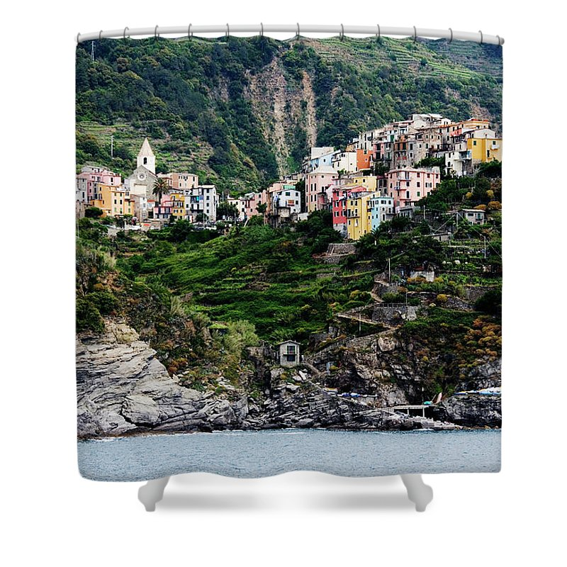 Town Shower Curtain featuring the photograph Italy, Liguria, Corniglia, View From by Jeremy Woodhouse