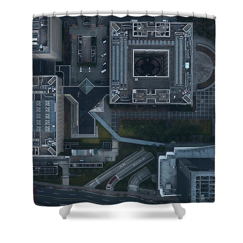 Two Lane Highway Shower Curtain featuring the photograph Japan, Tokyo, Aerial View Of Shinagawa by Michael H