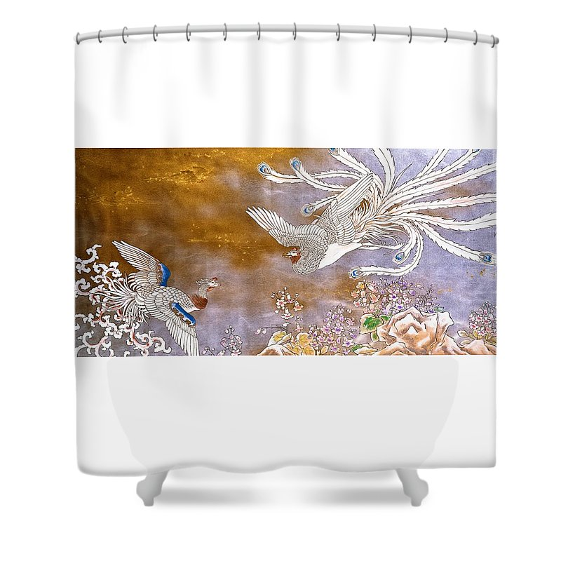 Asian Shower Curtain featuring the painting Japanese Modern Interior Art #138 by ArtMarketJapan