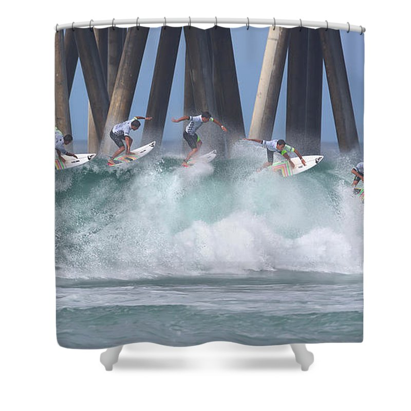 Surfing Shower Curtain featuring the photograph Jeremy Flores Surfing Composite by Brian Knott Photography