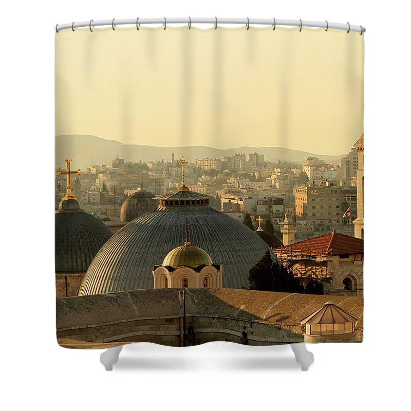 West Bank Shower Curtain featuring the photograph Jerusalem Churches On The Skyline by Picturejohn
