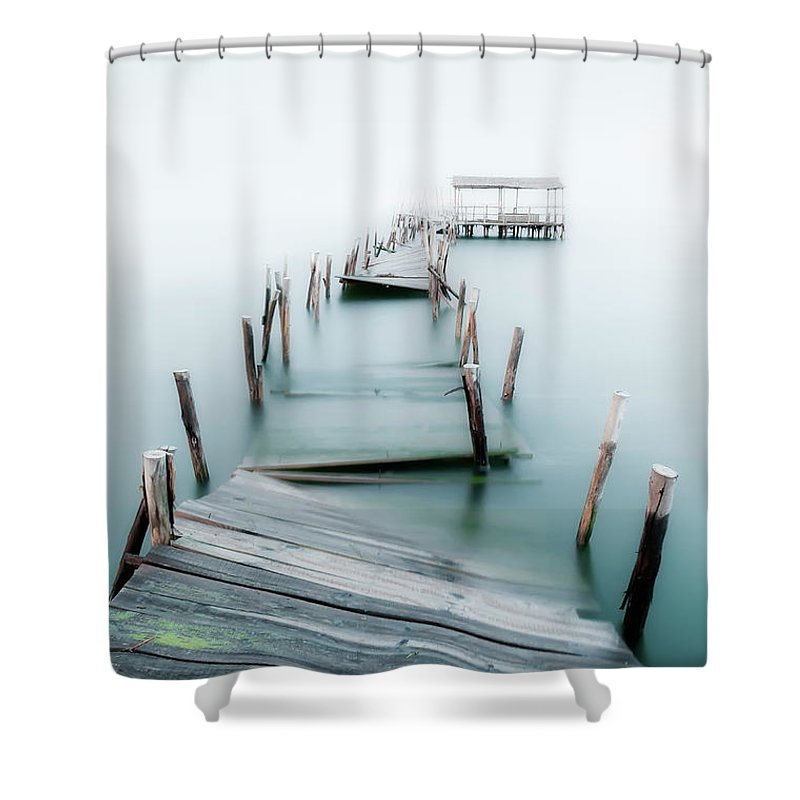 The End Shower Curtain featuring the photograph Jetty by Lt Photo