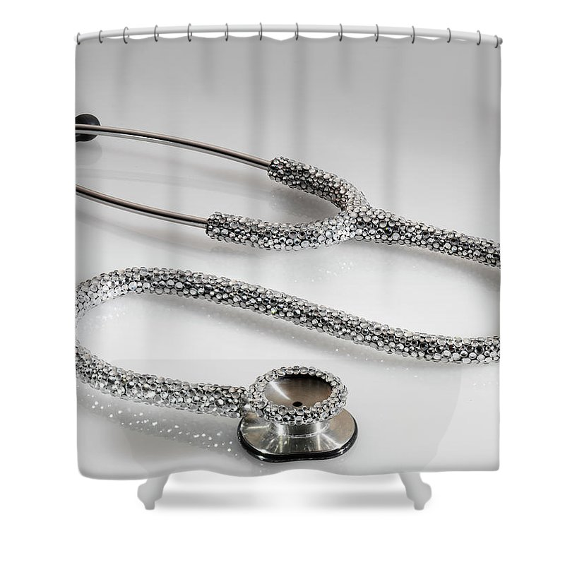 Expertise Shower Curtain featuring the photograph Jewelled Stethoscope by Terry Mccormick