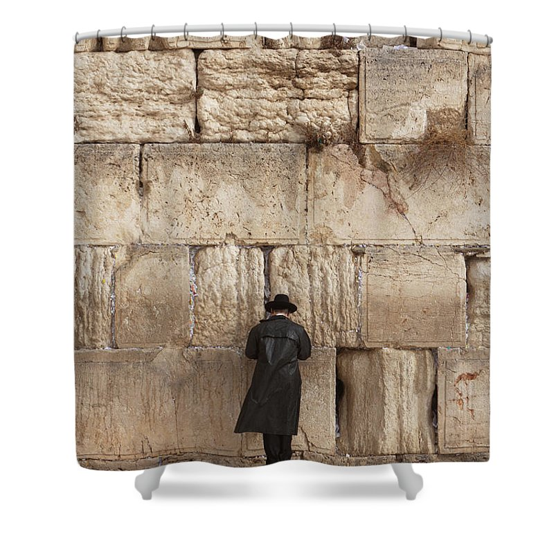 People Shower Curtain featuring the photograph Jewish Man Praying On The Wailing Wall by Richmatts