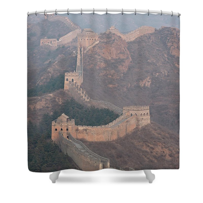 Chinese Culture Shower Curtain featuring the photograph Jinshanling Section, Great Wall Of China by Thomas Kokta