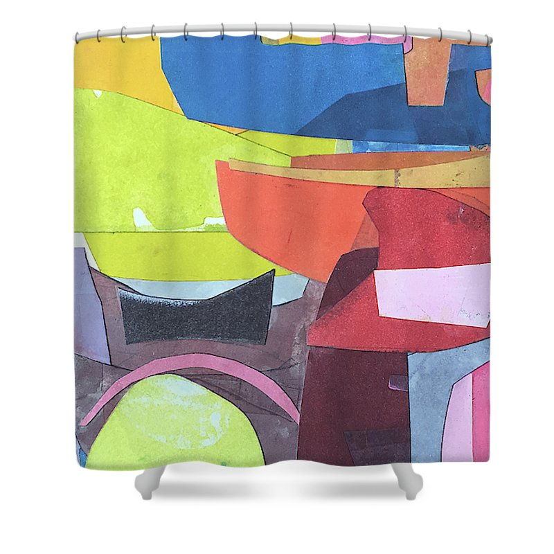 Abstract Shower Curtain featuring the painting Journeyman's Papers Vi by Rob Delamater