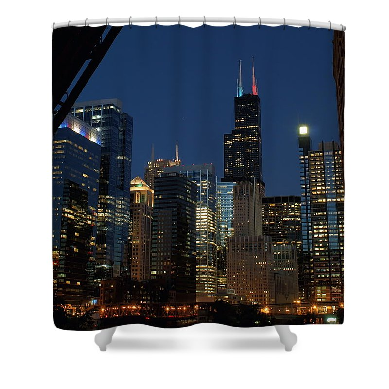 Chicago River Shower Curtain featuring the photograph July Night Chicago River Skyline by Igermz