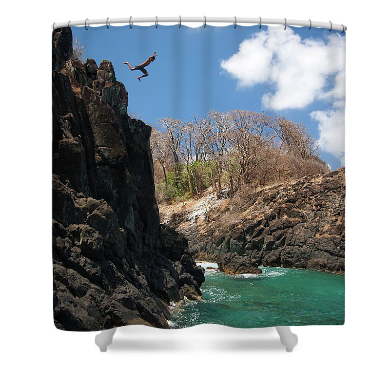 Tranquility Shower Curtain featuring the photograph Jumping by Mauricio M Favero
