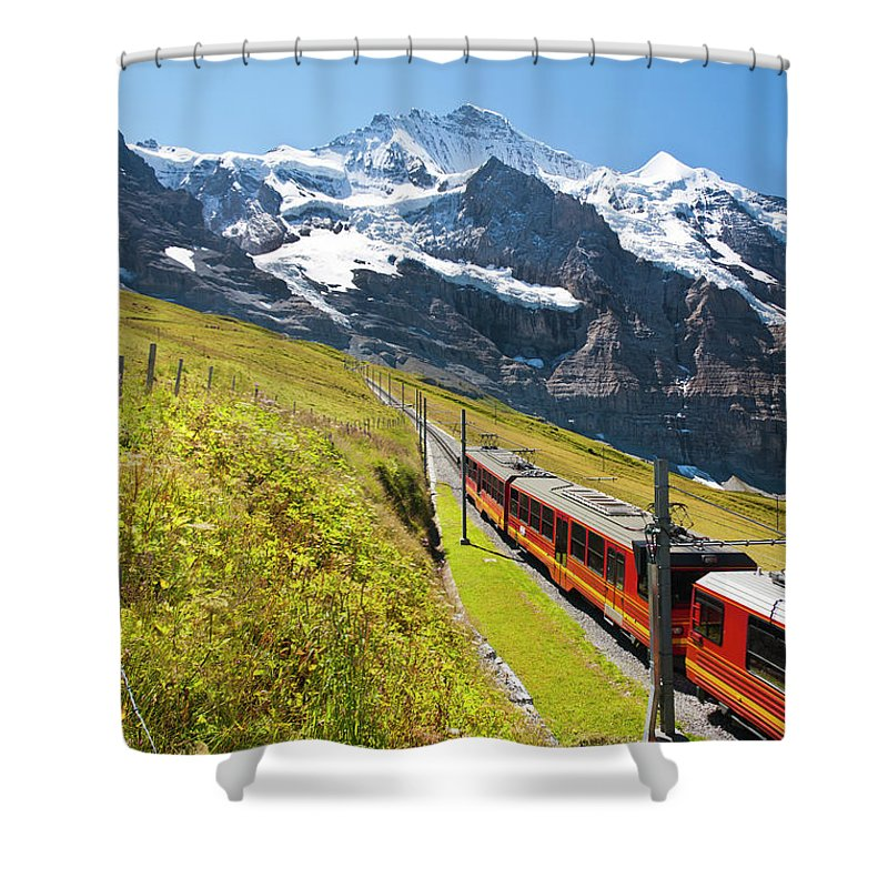 Scenics Shower Curtain featuring the photograph Jungfraubahn, Swiss Alps by Michaelutech