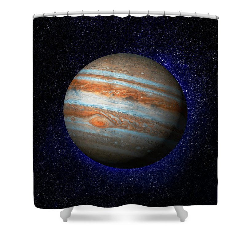 Research Shower Curtain featuring the digital art Jupiter & Stars by Ian Mckinnell