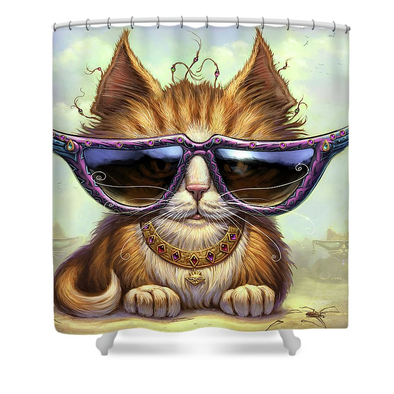 Cat Artwork. Cats Shower Curtain featuring the painting Just Be by Jeff Haynie