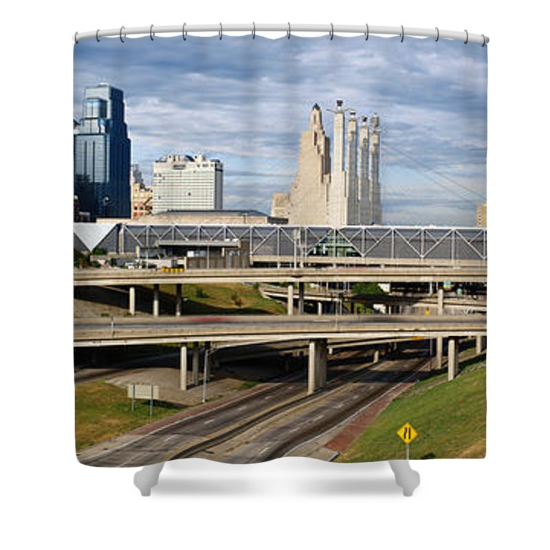 Panoramic Shower Curtain featuring the photograph Kansas City Skyline, Missouri by Jeremy Woodhouse