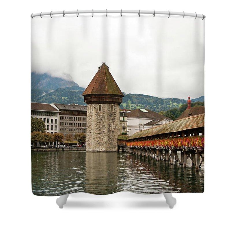 Scenics Shower Curtain featuring the photograph Kapellbrucke On Reuss River, Lucerne by Cultura Rf/rosanna U