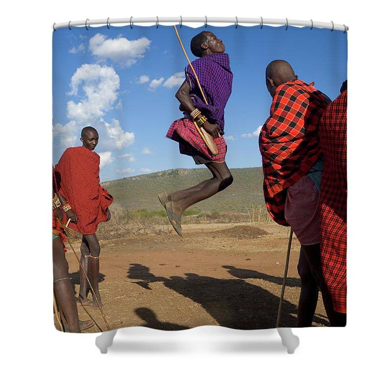 Young Men Shower Curtain featuring the photograph Kenya, Masai Mara, Masai Dancers by Peter Adams