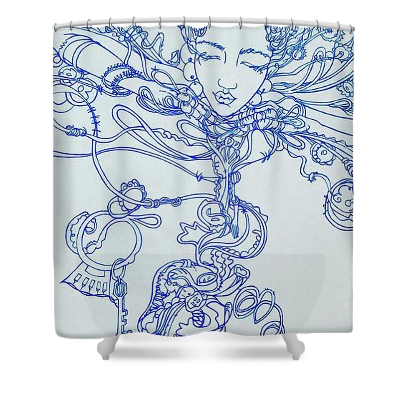 Shower Curtain featuring the painting Keys To The Garden by Judy Henninger