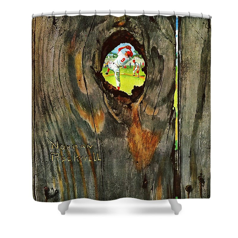 Baseball Shower Curtain featuring the drawing Knothole Baseball by Norman Rockwell