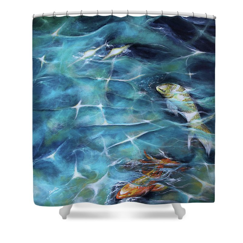 Koi Fish Shower Curtain featuring the painting Koi Fish3 by Shveta Saxena